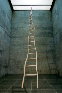 """Martin Puryear, Ladder for Booker T. Washington, 1996; Ash and maple, 36' x 22 ¾"""" x 3"""" (10.97 m x 57.8 cm x 7.6 cm); width narrows to 1 ¼"""" (3.2 cm) at the top; Modern Art Museum of Fort Worth; Gift of Ruth Carter Stevenson, by exchange; © 2007 Martin Puryear; Photo by David Wharton"""