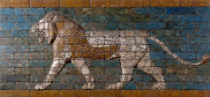 Restored Lion Relief from the Processional Way in Babylon, Neo-Babylonian, King Nebuchadnezzar II (604–562 B.C.), 6th century B.C., Colored, glazed clay bricks, H 91 x W 232 x thickness 9.1 cm., Gift of James Simon, Museum of the Ancient Near East, Berlin