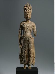 Statue of Eleven-Headed Avalokiteshvara, Toyuk, Chinese Tang Dynasty import, 7th century, Wood, H 38 cm, Museum of Asian Art, Berlin