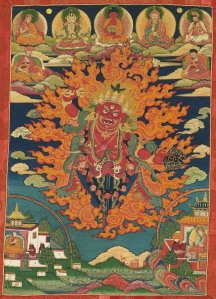 The great teacher and saint Padmasambhava as the wrathful Guru Dragpo Marchen, 1800-1900. Bhutan. Ink and colors on cotton. Lent by Phajoding Monastery, Thimphu. Photo by Shuzo Uemoto/Honolulu Academy of Arts.