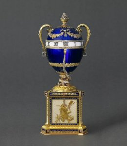 House of Fabergé (Russian, 1846 - 1918), Mikhail Perkhin, workmaster. Imperial Blue Serpent Egg, (Gold, blue guilloche enamel, opalescent white enamel, diamonds, sapphires, 1887). H.S.H. Prince Albert II of Monaco.