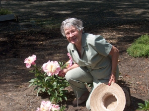 Mother's Day at Paeonia, ARThound's mom Evelyn with Showgirl, a herbaceous peony