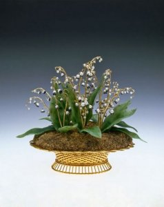 House of Fabergé (Russian, 1846 – 1920). Imperial Lilies-of-the-Valley Basket, St. Petersburg, (Yellow and green gold, silver, nephrite, pearl, rose-cut diamonds, 1896). Cheekwood Botanical Garden & Museum of Art; on loan from the Matilda Geddings Gray Foundation.