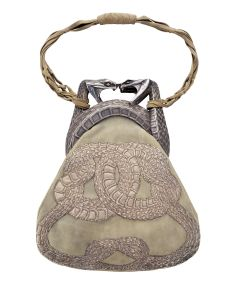 René Lalique (French, 1860-1945). Purse with Two Serpents, 1901-3. Gold, silver, antelope skin, silver thread; 23.1 x 17.9 cm.  Private Collection.