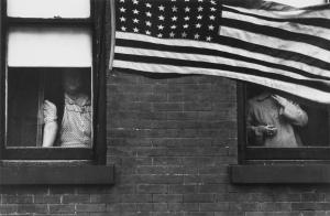 Robert Frank, Parade—Hoboken, New Jersey, 1955; gelatin silver print; 8 3/8 x 12 3/4 in.; Private collection, San Francisco; © Robert Frank