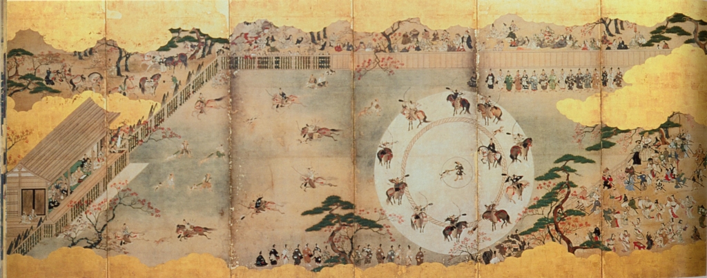 "Left 6 panels ""Inuoumono"" (Dog Chasing Event), Pair of six-panel folding screens; ink, colors, and gold foil on paper, H 139.9 cm x W 351.8 cm (each), Japan; Edo period (1615-1868), Eisei-Bunko Museum, 4005."