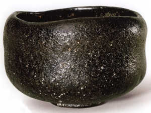"Teabowl entitled ""Otogaze,"" black Raku ware, Raku Chōjirō (d. 1589), Momoyama period (1573-1615), 16th century, glazed earthenware, H. 8.2 cm x Diam. 10.8 cm (mouth), Diam. 5.0 cm (foot), Eisei-Bunko Museum, 1297."