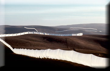 Christo and Jeanne-Claude Running Fence, Sonoma and Marin Counties, California, 1972-76, Photo: Wolfgang Voltz @1976 Christo