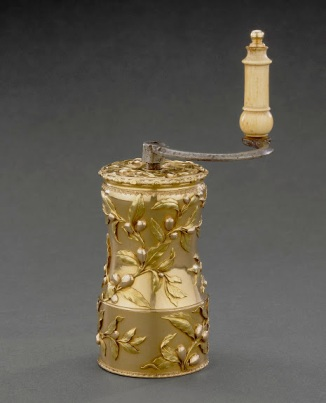 "One of the most novel items on display in ""Royal Treasures from the Louvre…"" is an ornate solid gold coffee grinder fabricated in 1756-57 by goldsmith Jean Ducrollay for Madame de Pompadour, Louis XV's chief mistress.  Madame de Pompadour, who gave intimate dinners hosted by the king, owned several examples of gold tableware but this is the only surviving piece.  It is made of three colors of gold and modeled with delicate sprays of coffee branches and coffee berries.  Photo: © RMN-Grand Palais / Art Resource, NY / Daniel Arnaudet"