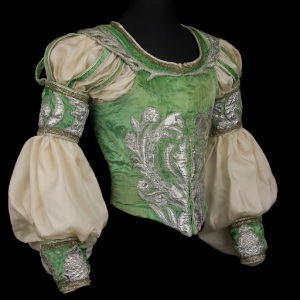 Costume for Rudolf Nureyev in the role of Romeo, Act II, Romeo and Juliet, Opéra national de Paris. 1984. Velvet, silk, silver lamé, metallic lace, and sequins. Collection of CNCS/Opéra national de Paris.  Photograph by Pascal François/CNCS