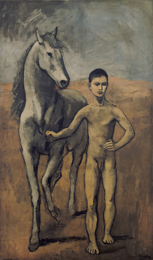 """Pablo Picasso, """"Boy Leading a Horse"""" (Paris, 1905–1906), Oil on canvas, 86 7/8 in. x 51 5/8 inches, The William S. Paley Collection, courtesy of MoMA."""