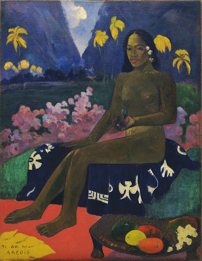 "Paul Gauguin, ""The Seed of the Areoi"" (1892), Oil on burlap, 36 1/4 x 28 3/8 inches, The William S. Paley Collection, courtesy of MoMA."