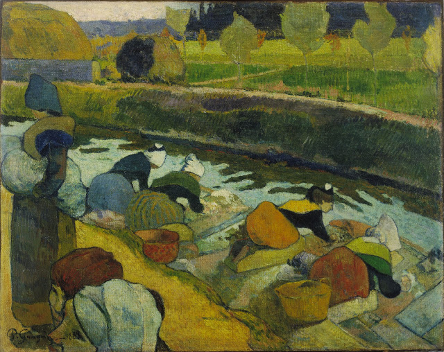 """Paul Gauguin, """"Washerwomen"""" (1888), Oil on burlap, 29 7/8 x 36 1/4 inches, The William S. Paley Collection, courtesy of MoMA."""