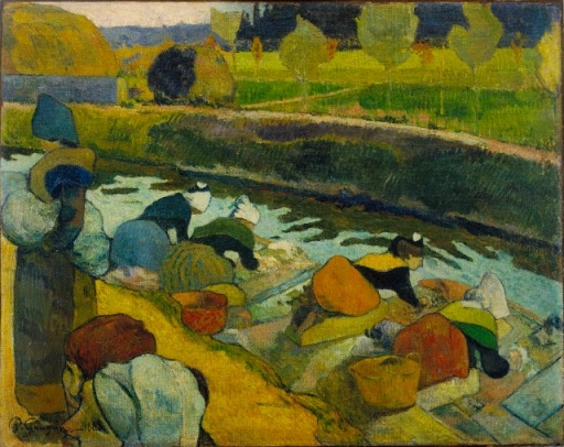"Paul Gauguin, ""Washerwomen"" (1888), Oil on burlap, 29 7/8 x 36 1/4 inches, The William S. Paley Collection, courtesy of MoMA."