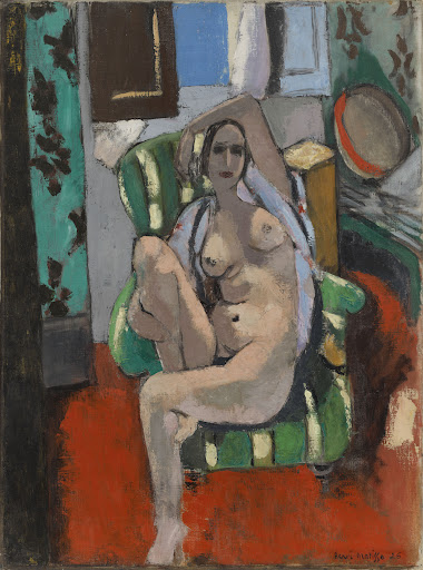 """Henri Matisse, """"Odalisque with a Tambourine,"""" Nice, place Charles-Félix, winter 1925–1926, Oil on canvas, 29 1/4 x 21 7/8 inches, The William S. Paley Collection, courtesy of MoMA."""