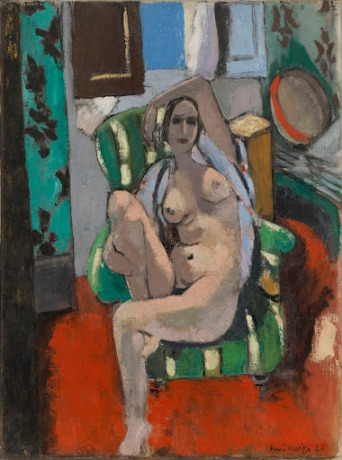 "Henri Matisse, ""Odalisque with a Tambourine,"" Nice, place Charles-Félix, winter 1925–1926, Oil on canvas, 29 1/4 x 21 7/8 inches, The William S. Paley Collection, courtesy of MoMA."