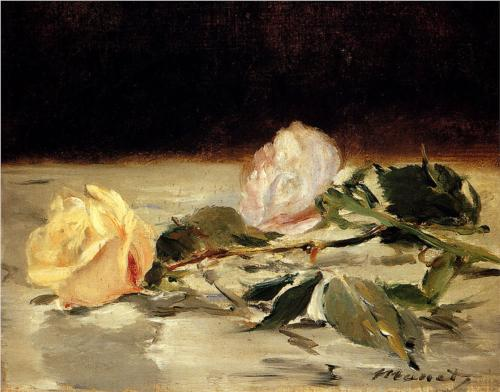 """Édouard Manet, """"Two Roses on a Tablecloth,"""" (1882-83), Oil on canvas, 7 5/8 inches x 9 1/3 inches, The William S. Paley Collection, courtesy of MoMA."""