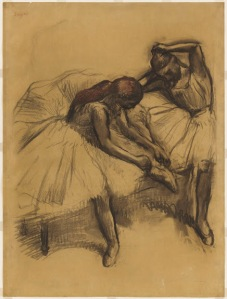 "Edgar Degas, ""Two Dancers"" (1905), Charcoal and pastel on tracing paper, 43 x 32 inches, The William S. Paley Collection, courtesy of MoMA."