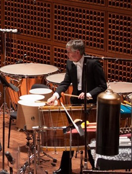San Francisco Symphony Percussionist Tom Hemphill plays every kind of percussion instrument called for and has clinked (and broken) many a wine glass on stage.  edited photo: original Kirsten Loken