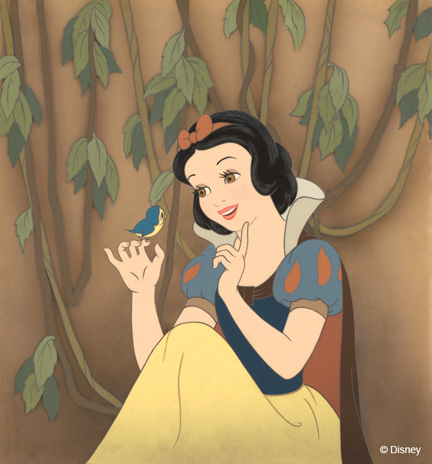 """Snow White Greets a Baby Bird""; Disney Studio Artist; Reproduction cel setup; airbrushed post production background on paper; Walt Disney Animation Research Library; © Disney Enterprises, Inc."