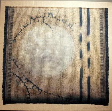 "Barbara Shapiro, ""Siver Moon,"" hand-woven tussah silk, Indigo dyed ikat shibori,  discharge and pigment, 2005."