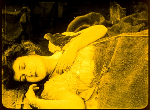"Marguerite Clark as Snow White in J. Searly Dawley's 1916 silent film ""Snow White.""  Clark was 33 at the time but had youthful features and at just 4'10,"" she could pull off much younger characters quite convincingly.  Still courtesy: SFFS."