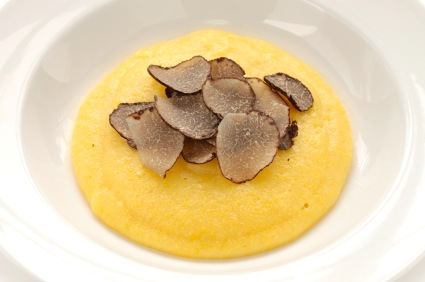 """Polenta with Sottocenere al Tartufo"" is just one of the tasty dishes created by Garrett McCord and Stephanie Stiavetti, co-authors of Melt: The Art of Macaroni and Cheese (2013) forthcoming who will be participating in ""On-line to On-plate: Bloggers Cook with Cheese"" at the 7th Annual Artisan Cheese Festival.  Sottocenere al Tartufo is an Italian is a raw cow's milk cheese laced with bits of black truffles that translates as ""under ash, with truffles.""  The outside is rubbed with a mix of ash, cinnamon, fennel, licorice, nutmeg, and other aromatic spices.  Photo: Garrett McCord"
