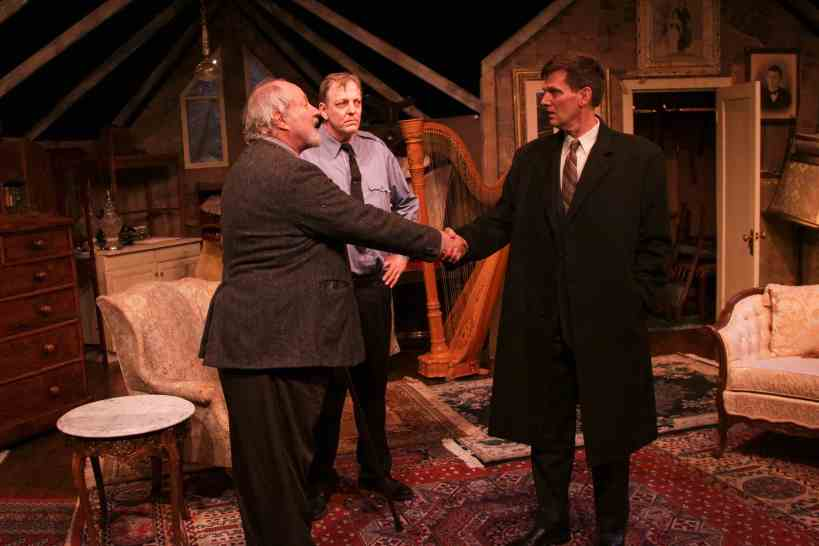 "Charles Siebert (front left), Samson Hood (rear) and John Shillington (right) in Arthur Miller's ""The Price,"" at Cinnabar Theatre through April 7, 2013.  Photo: Eric Chazankin"