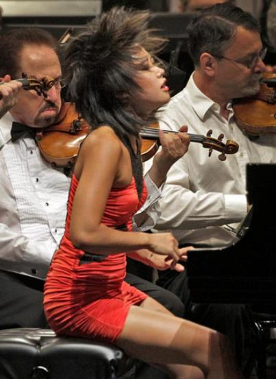 Chinese pianist Yuja Wang is known for her colorfully explosive playing.  She performs on the Green Music Center's Steinway with Michael Tilson Thomas and the San Francisco Symphony, Thursday, March 7, 2013, at Weill Hall.