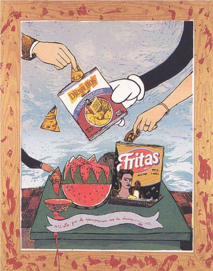 "Enrique Chagoya, ""What Appropriation Has Given Me (Fritas yDieguitos)"" Collection of Austin and Sara Hills"