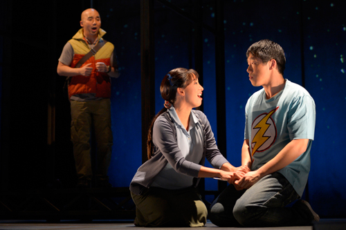 "Julius Ahn as Guāng, Marie-France Arcilla as Míng and Raymond J. Lee as Wáng Yuè in ""Stuck Elevator,"" playing April 4 – 28, 2013 at A.C.T.'s Geary Theater. Photo by Kevin Berne."