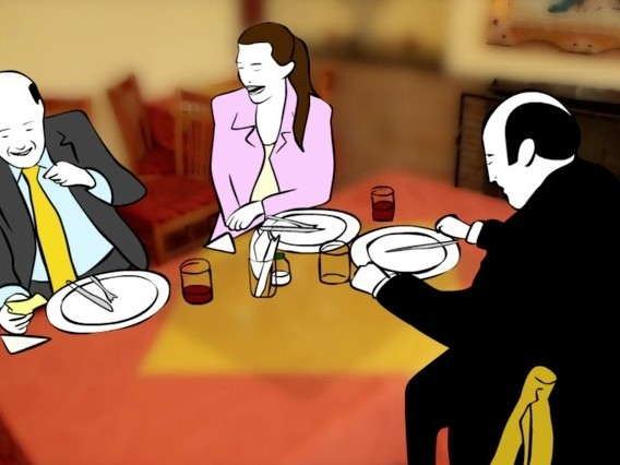 "In Carlos Osuna's ""Gordo, calvo y bajito,"" Antonio Farfán is a middle-aged man working in a notary office who believes that his dull life is the result of his looks: being fat, bald and short.  The film's animation is in perfect tune with its theme, there's a devastating power in the simple drawings of the characters and the realism of the backgrounds and the urban landscape."