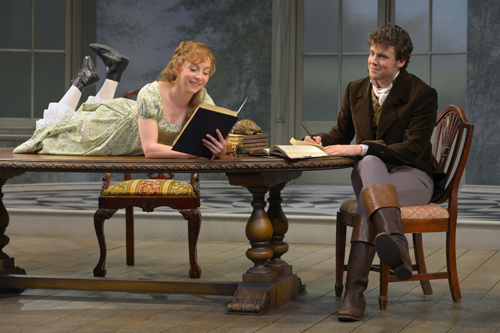 "Rebekah Brockman is brainy Thomasina Coverly and Jack Cutmore-Scott is her ambitious tutor, Septimus Hodge, in A.C.T.'s production of Tom Stoppard's ""Arcadia,"" directed by Carey Perloff, through June 9, 2013.  Photo by Kevin Berne."
