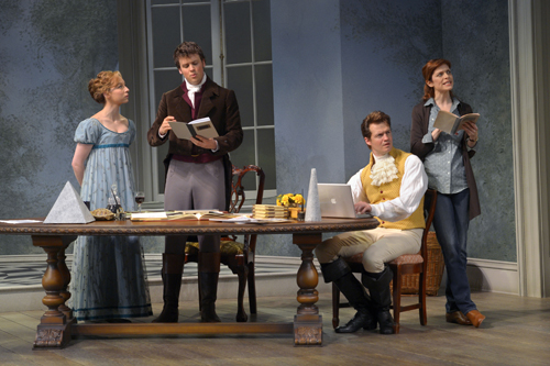 (from L-R): Rebekah Brockman (Thomasina Coverly), Jack Cutmore-Scott (Septimus Hodge), Adam O'Byrne (Valentine Coverly), and Gretchen Egolf (Hannah Jarvis) in A.C.T.'s production of Tom Stoppard's Arcadia, directed by Carey Perloff. Photo by Kevin Berne