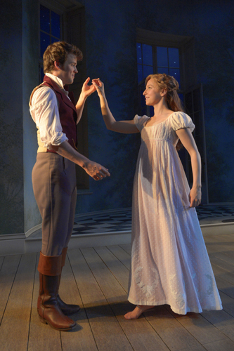 Rebekah Brockman (Thomasina Coverly) and Jack Cutmore-Scott (Septimus Hodge) in A.C.T.'s production of Tom Stoppard's Arcadia, directed by Carey Perloff. Photo by Kevin Berne