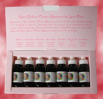 Annabella DeMattei, founder of Luna Fina, distills special roses in organic brandy and distilled water to create healing and aligning Rose Chakra Flower Essences which she sells in sets or individually.  Each bottle comes with a delightful card, an artwork itself, which explains all about the drops and their properties.