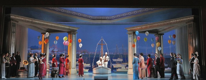 "Act II: in one of ""Cosi's"" most beautiful scenes, Ferrando (tenor Francesco Demuro) and Guglielmo (bass-baritone Philippe Sly), disguised as two Albanian soldiers, arrive by boat on a moonlit night, to be married to the two sisters.  Cropped image.  Original Photo: Cory Weaver, courtesy San Francisco Opera."