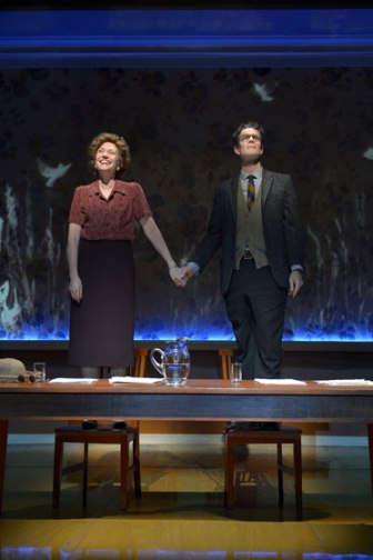 Sarah Ruhl and Les Waters return to Berkeley Rep with Dear Elizabeth, starring Mary Beth Fisher (left) and Tom Nelis as esteemed poets and lifelong friends Elizabeth Bishop and Robert Lowell.  Photo courtesy of kevinberne.com