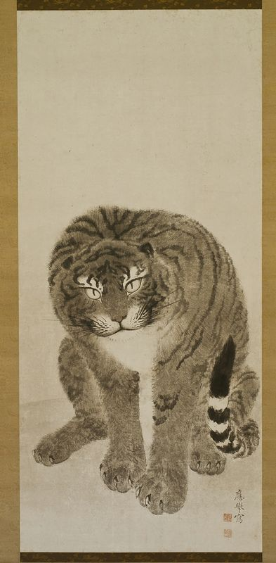 """Tiger by Maruyama Ōkyo (1733-1795), Edo Period Edo (1615-1868), 1779, One of a pair of hanging scrolls; ink and light colors on paper, 45.75 """" H x 20.5"""" W (each), Larry Ellison Collection."""