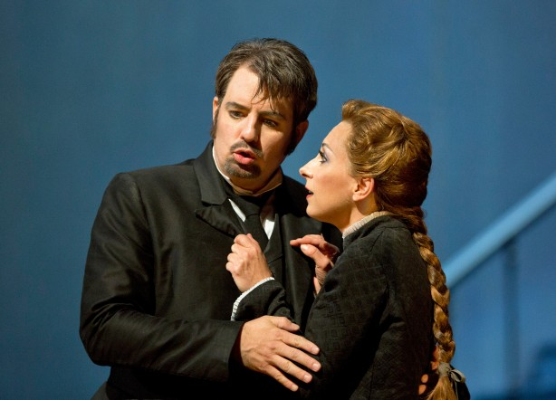 "Matthew Polenzani as Hoffmann and Natalie Dessay as his frail love Antonia, in SF Opera's ""The Tales of Hoffmann.""  Photo  ©Cory Weaver/San Francisco Opera."
