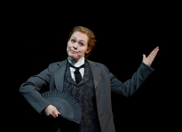 """Mezzo-soprano Angela Brower sparkles as Nicklausse, Hoffmann's friend, in SF Opera's """"The Tales of Hoffmann.""""  Photo  ©Cory Weaver/San Francisco Opera."""