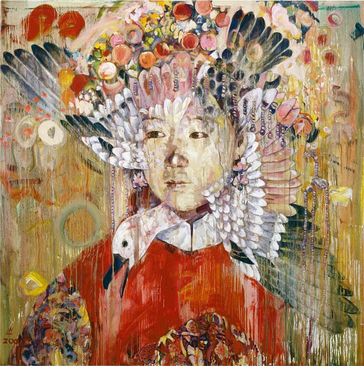 "Painted in the aftermath of 9/11, ""September 2001""  depicts a traditionally-rendered Song dynasty duck crashing through the face of a young Chinese bride, each image disintegrating into the other. (2001, oil on canvas, 66 x 66  inches.  collection of Driek and Michael Zirinsky.)"
