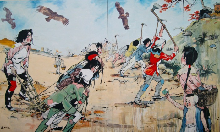 "Hung Liu's work , ""The Heroines,"" from 2012, addresses patriotic stories in Chinese picture books, or ""xiaorenshu,"" from her childhood.  oil on canvas, 96 x 160 inches, Collection of Hung Liu and Jeff Kelley."