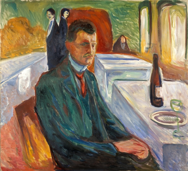 "Edvard Munch, ""Self-Portrait with a Bottle of Wine,"" 1906, Munch Museum, Oslo, @Munch Museum"
