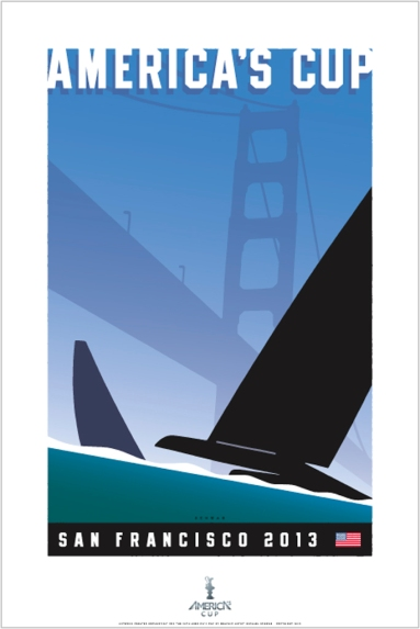 Michael Schwab's limited edition giclée print poster for the 34th America's Cup.  Image courtesy: Michael Schwab