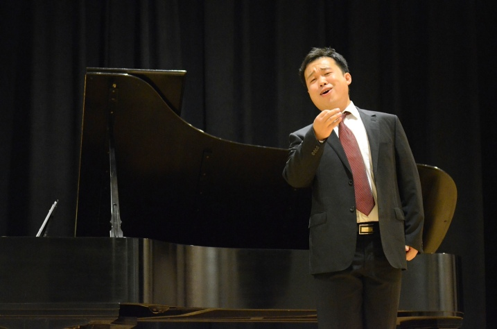Chinese bass-baritone Ao Li just won the top prize at Operalia 2013 competition.  Here, he is performing a Rossini aria at the Marin Opera Guild's Champagne Gala in 2011.  Photo: Susan Malott