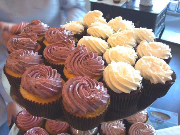 Forget-Me-Not-Cakes will offer a gorgeous edible palette of cupcakes at Taste of Petaluma. Left: Blackberry cupcake—the cake is a special vanilla buttermilk recipe passed down through baker Sally Ann Mcgrath's family. The filling is a homemade blackberry conserve. The topping is a light vanilla buttercream and blackberry conserve frosting.  Right:  Tropical chocolate cupcake—dark chocolate cake with passion-fruit curd filling and coconut buttercream frosting.  Photo: Geneva Anderson