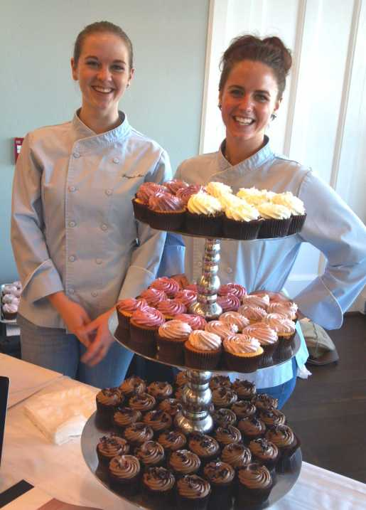 Forget-Me-Not-Cakes, owned by Petaluma baker and cake artist Sally Ann Mcgrath, creates uniquely delicious cakes that are all made from scratch with the finest ingredients. Sisters Elizabeth (L) and Mary-Frances Miller will serve a selection of cupcakes at Blush at 133 Kentucky Street.  Surprisingly, these treats look rich but they are not too sweet or heavy.  Each packs a special mouthwatering surprise—the interior is filled with dollop of scrumptious creamy homemade fruit conserve, caramel or dark chocolate.  Photo: Geneva Anderson