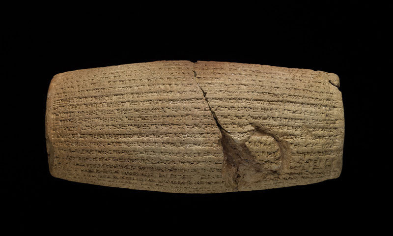 The Cyrus Cylinder, 539–538 BCE. Iraq, Achaemenid period (550–330 BCE). Baked clay. © Trustees of the British Museum