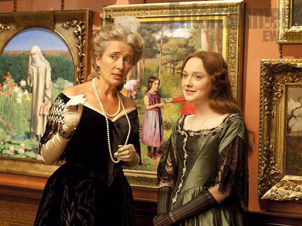 """Based on a real-life Victorian-era scandal, """"Effie Gray"""" is a period drama that has its world premiere at the 36th Mill Valley Film Festival, Oct 3-13, 2013.  Dakota Fanning (right) is Euphemia ''Effie'' Gray, a teen who fights to escape a loveless marriage to celebrated art critic John Ruskin (Greg Wise).  Emma Thompson (left) wrote the script and plays Effie's confidante, Lady Eastlake.  Dakota Fanning will attend."""